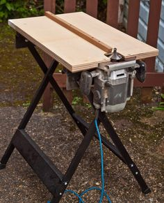 Workmate sawbuck shop ideas woods and pallets home made router table just for doing necks greentooth Gallery