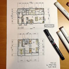 Folding Architecture, Japanese Architecture, Architecture Drawings, Technical Drawing, House Floor Plans, Cozy House, Drawing Reference, Diagram, Layout