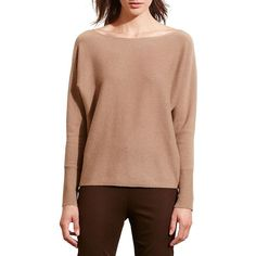 Lauren Ralph Lauren Petite Wool and Cashmere Boatneck Sweater ($155) ❤ liked on Polyvore featuring tops, sweaters, brown, petite, sweater pullover, petite sweaters, petite cashmere sweater, boatneck sweater and dolman-sleeve sweaters