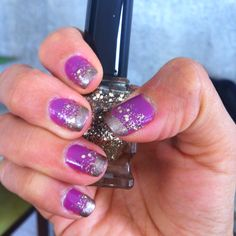 Purple nail with gold sparkles