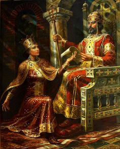 ИВАН АСЕН II И ИРИНА маслени бои , платно Васил Горанов