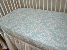 FINALLY!!!!  Fitted Baby Crib Sheet Blue and White Damask by WeeLittleBundles,