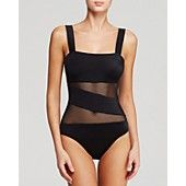 DKNY Mesh Effect Splice Maillot One Piece Swimsuit...no blk...navy