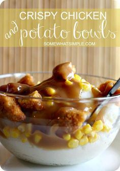 Chicken and Mashed Potato Bowl KFC Copycat Recipe Crispy chicken + mashed potato bowls recipe – insanely easy + delicious meal idea! Fast Dinners, Fast Easy Meals, Cheap Meals, Cheap Recipes, Fast Easy Dinner, Dinner Healthy, Simple Recipes For Dinner, Quick Cheap Dinners, Fast Recipes