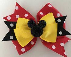 Minnie Mouse Hair Bow Mickey Mouse Bow Disney Minnie Bow Disney Mickey Bow Red Polka Dot Minnie Bow with Glittery Minnie Disney Hair Bow Ribbon Hair Bows, Girl Hair Bows, Girls Bows, Ribbon Flower, Fabric Flowers, Disney Hair Bows, Hair Bow Tutorial, Flower Tutorial, Minnie Mouse Bow