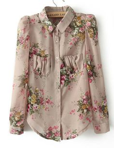 Puff Sleeve Floral Chiffon Blouse