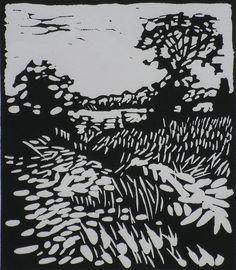 Pete Marsh - English Summer Field - Lino Cut