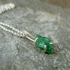 Uncut Raw Rough Green Emerald Pendant  Sterling by ASecondTime,   I LOVE IT!