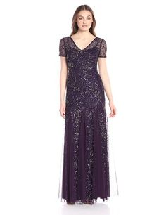 Amazon.com: Adrianna Papell Women's Short-Sleeve Beaded Gown: Clothing
