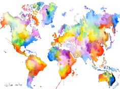 sale ooak Original World Map Art   Colorful Watercolor by asho, $11.00