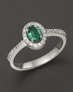 Emerald and Diamond Oval Ring in 14K White Gold | 50% OFF