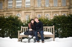 Engagement photos in the snow, Wentworth Castle gardens