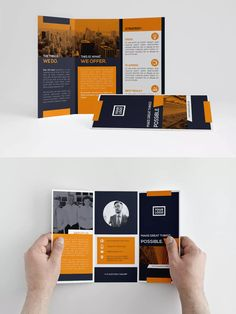 Orange Business Trifold by atsar on Envato Elements Brochure Indesign, Template Brochure, Brochure Layout, Magazine Ideas, Design Magazine, Event Poster Design, Design Posters, Book Design Layout, Design Design