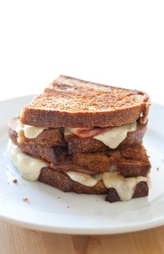 Ham and Le Gruyere grilled cheese