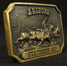 Heritage Mint Ltd. Brass Belt Buckle Arizona Statehood 1912 To see the Price and Detailed Description you can find this item in our Category Vintage Western and Primitives on eBay: http://stores.ebay.com/tincanalley1/Vintage-Western-and-Primitives-/_i.html?_fsub=26200601018  RD15031