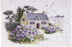 This Pin was discovered by İpe Cross Stitch House, Cross Stitch Charts, Cross Stitch Designs, Cross Stitch Patterns, Cross Stitching, Cross Stitch Embroidery, Embroidery Patterns, Cross Stitch Landscape, Cross Stitch Pictures