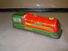"Vintage & Rare 4"" GTP Express 568 Tinplate Train Toy Green & Red Color Good Cond 