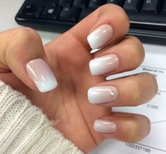 French fade white tip gel nails with gem