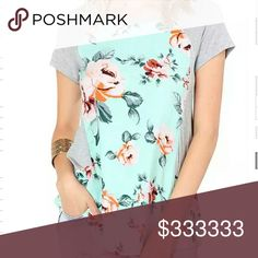 Soft Grey & Mint Floral Tee *Considers all offers*  Measurements:  (2) Small:  Bust- 16.5in Waist- 16.75in.             Hips- 19in.   Length- 27in  (1) Medium:  Bust- 17.5in  Waist- 18in Hips- 20in.   Length- 28in  (2) Large: Bust- 19in        Waist- 20in Hips- 21.75in.   Length- 28.5in Sparkle By Melanie Tops Tees - Short Sleeve