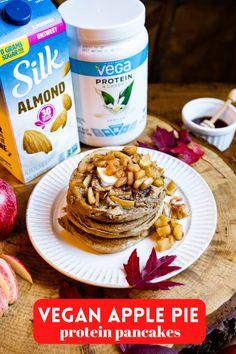 Vegan Apple Pie Protein Pancakes | Cozy delicious fall breakfast recipe | Easy plant-based brunch Fall Breakfast, Breakfast Ideas, Protein Pancakes, Apple Pie, Plant Based, Carrots, Almond, Vegan Recipes, Brunch