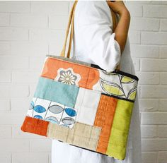 Summer Orange Patchwork Reclaimed fabric One of a kind Large Shoulder bag Tote large Textile Art bag — JuanitaTortilla