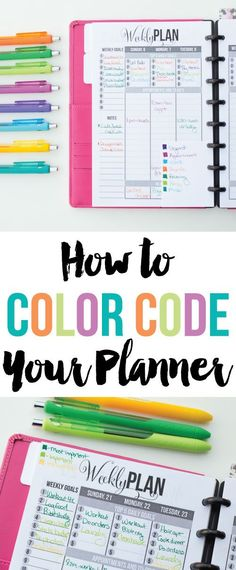 Let's talk about how to color code your planner! I love pretty colors and I love planners, so what could be better than a color coded planner? When it comes to color coding your planner, there's definitely not a right or wrong way. Planner Stickers, Printable Planner, Printables, Planner Tips, Planner Pages, Happy Planner, 2015 Planner, Organized Planner, Binder Planner