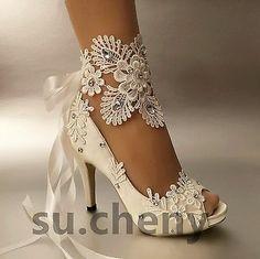 Peep Toe Wedding Shoes, Wedding Shoes Bride, Bride Shoes, Wedding Bridesmaids, Lace Wedding, Wedding White, Wedding High Heels, Crystal Wedding, Bridal Shoes Ivory