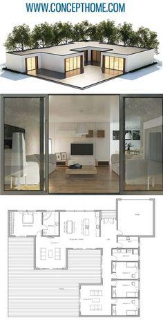 House Plan House Plan, Home Plan, Floor Plan Modern House Plans, Small House Plans, Modern House Design, Small Floor Plans, Modern Floor Plans, Sims House Plans, Home Building Design, Home Design Plans, Building A House