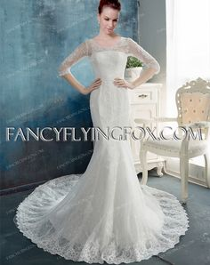 fancyflyingfox.com Offers High Quality Modest Middle Sleeves Illusion Sheath Bridal Gown 2016,Priced At Only US$289.00 (Free Shipping) Lace Mermaid Wedding Dress, Lace Wedding, 2016 Wedding Dresses, Classic Chic, Celebrity Dresses, Bridal Gowns, Tulle, Glamour, Free Shipping