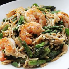 Shrimp with Orzo and ASparagus
