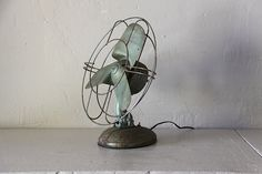 French Industrial Antique Electric Desk Fan 1930s by RueVertdegris, $155.00