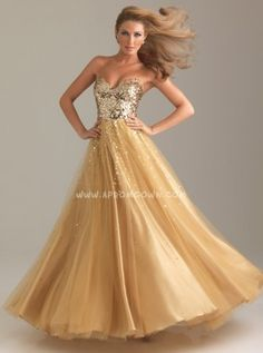 Gold Strapless Sequin Ball Gown by Night Moves 6499 Cheap