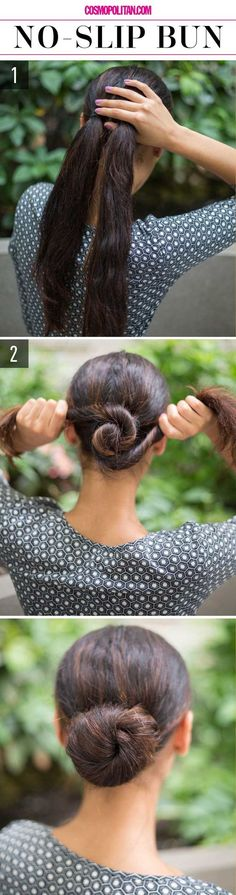 NO SLIP BUN: Buns look polished and chic, but not when they're falling apart half-way through the day. Create a pretty and secure bun with these easy steps! Start by pulling hair back in two low ponytails tied close together. Twist the two tails in opposite directions until a bun is formed and secure hair with bobby pins. Find the full tips and instructions here…
