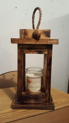 """Rustic wooden candle lantern,  holds up to 4"""" round candles."""