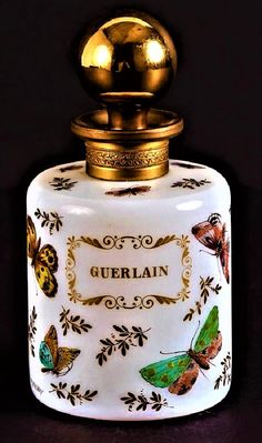 1955 Guerlain opaline and bronze hand painted perfume bottle, featuring butterflies and gilt decoration, signed R. Parfum Guerlain, Antique Perfume Bottles, Beautiful Perfume, Perfume Collection, Bottles And Jars, Opaline, Smell Good, Decorative Objects, Pottery