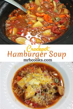 This slow cooker hamburger soup gives you the flavors of a hamburger, but is als. This slow cooker hamburger soup gives you the flavors of a hamburger, but is also full of delicious vegetables. A hearty and filling ground beef crockpot recipe! Slow Cooker Hamburger Soup, Crock Pot Slow Cooker, Crock Pot Cooking, Slow Cooker Recipes, Ground Beef Crockpot Recipes, Beef Recipes, Soup Recipes, Cooking Recipes, Hamburger Recipes