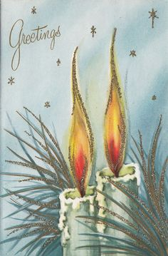 Vintage Greeting Card Christmas Candles Glitter Blue 1950s i790