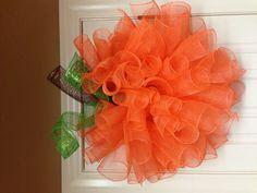 Pumpkin mesh wreath I want to make this!