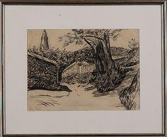 Sam Vanni: Kirkkopihan muurit, hiilipiirros, ei sign., merkitty 7.VI, 23x31,5 cm. Sam Vanni retrospektiivi 1978, Bukowskis Market