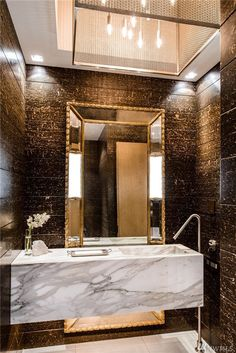Sam Hill Mansion Modern Powder Rooms Room Chinoiserie Wallpaper Vanity Decor