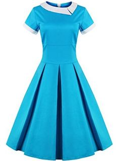 Women's 50s Style Rockabilly Pinup Cotton Swing Vintage Dress (Premium): Amazon Fashion