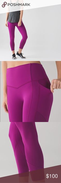 • Lululemon • All The Right Places Crop Regal Plum - Lululemon - All The Right Places Crop ll - Regal Plum Purple  - Luxtreme  - Zip Free Pockets - Held In Sensation  - Size 8 - New with Tags lululemon athletica Pants Leggings