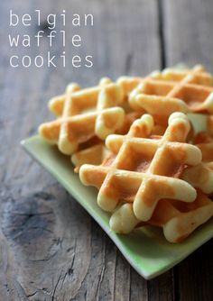 Today I have a great recipe for Belgian Waffle Cookies. These miniature wafeltjes are baked in a waffle iron and are so rich and buttery (the recipe calls for butter! My husband grew up ea… Yummy Treats, Delicious Desserts, Sweet Treats, Yummy Food, Cookie Recipes, Dessert Recipes, Dessert Ideas, Waffle Iron Recipes, Pancake
