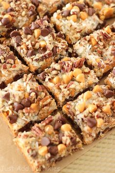 These bars have everything you want in flavor & texture. Lots of chocolate chips, butterscotch chips, sweetened coconut flakes and pecans go into these bars