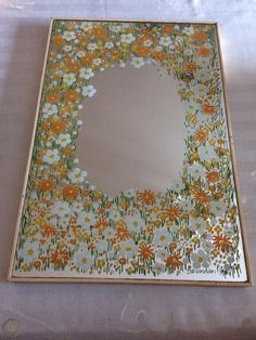 Rare Bob Van Allen Signed painted mirror From the late - early in the Flower Power era Tiny painted Daisies in orange and white Supper cute, retro floral border around outer border Over . Vintage Bob, Mirror Painting, Mirror Art, Retro Mirror, Inspiration Artistique, Room Deco, Posca, Aesthetic Bedroom, Painting Inspiration