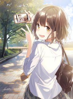 ♡~*ANiME ART*~♡ bishoujo - beautiful anime girl - school uniform - school bag - plaid skirt - short hair - phone - taking photo - blush - smile - cute- moe - kawaii Art Manga, Manga Anime Girl, Anime Girl Drawings, Anime Girl Cute, Beautiful Anime Girl, Anime Love, Anime Girls, Anime Girl Short Hair, Anime Girl Crying