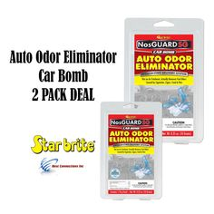 "2 PACK Auto Odor Eliminator Control System Car Bomb Food Pet Smell StarBrite. Fast Release ""NosGuard SG Auto Odor Eliminator"" Formula begins working immediately to eliminate foul odors caused by mold, mildew, pets, food, smoke and more. Quick-release, deep penetrating vapor eliminates tough odors within 4-6 hours; doesn't just cover them up. Each patented CLO2 chlorine dioxide generator pouch treats one vehicle safely and quickly. Professional strength treatment for removing even the..."