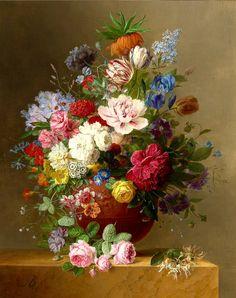 American Globe Flower and Garden Nasturtium (1812) | By Arnoldus Bloemers (1792-1844)