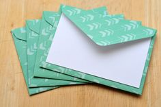 Turquoise Arrow Mini Cards, Set of 4, Blank Cards, Gift Card Envelope, Love Note, Guestbook, Gift Tag, Favor Card, Journaling Card by whoiamdesign on Etsy