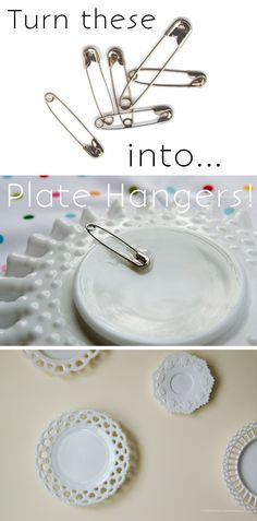 This is a great hack. Turn safety pins into DIY plate hangers. So much cheaper than buying them!